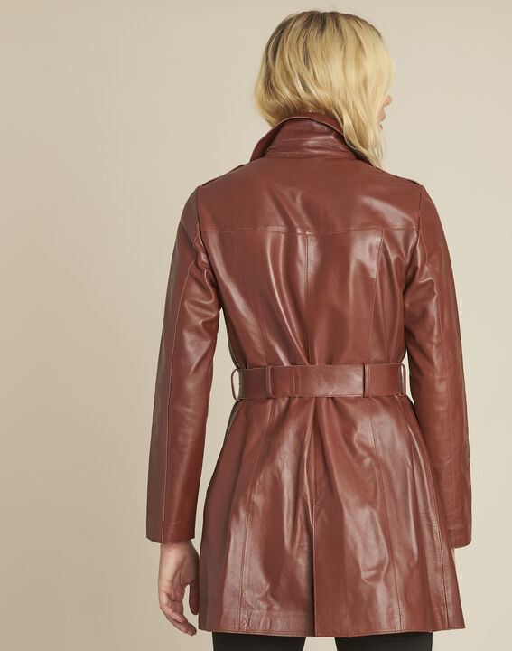 Vladimir mahogany double-breasted leather trenchcoat  (4) - 1-2-3