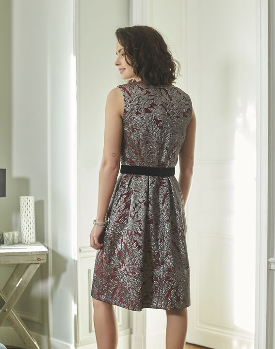 Nocturne Red Jacquard Print Dress (4) - 1-2-3