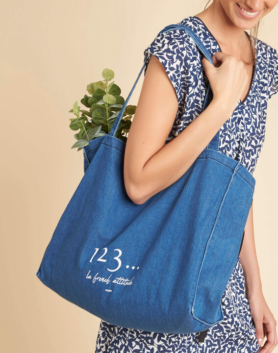 Tote bag bleu effet denim Diva PhotoZ | 1-2-3