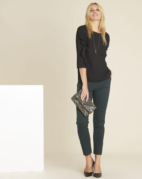 Zwarte blouse uit twee materialen met volants Cleo (2) - 37653