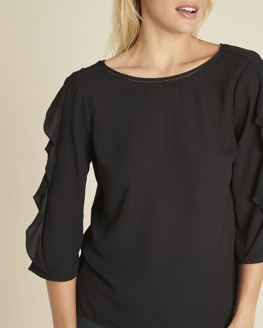 Cleo black dual-fabric blouse with frilled detailing (2) - 1-2-3