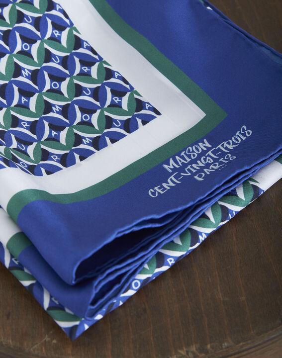 Carré de soie bleu imprimé fantaisie Ora (2) - Maison 123