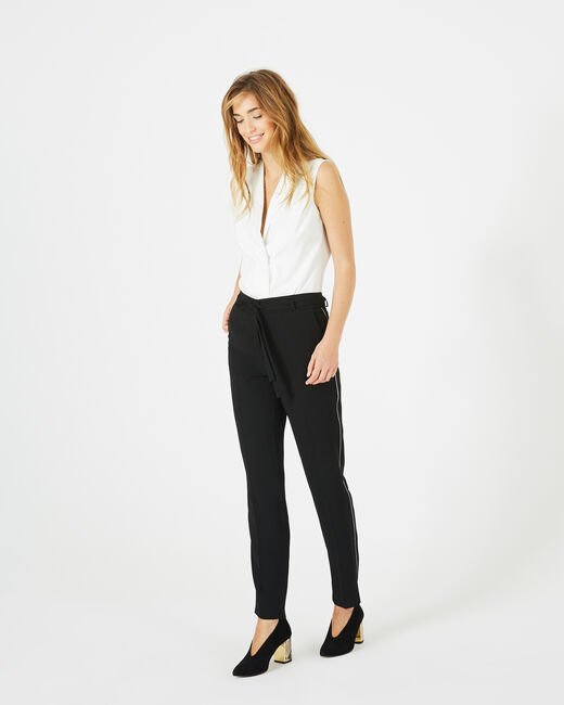 Pantalon noir en crêpe Karoline (2) - 1-2-3