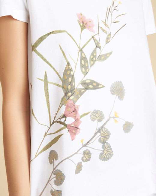 Weißes T-Shirt mit Blumenmotiven Eloi (1) - 1-2-3