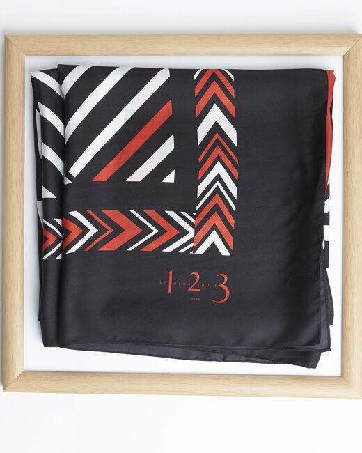 Amadeus orange graphic printed square scarf in silk (2) - 1-2-3