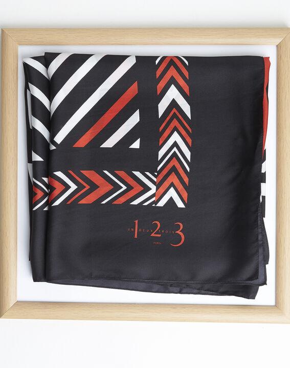 Amadeus orange graphic printed square scarf in silk PhotoZ | 1-2-3