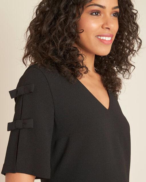 Robe noire crêpe à noeuds Ivoire (2) - 1-2-3