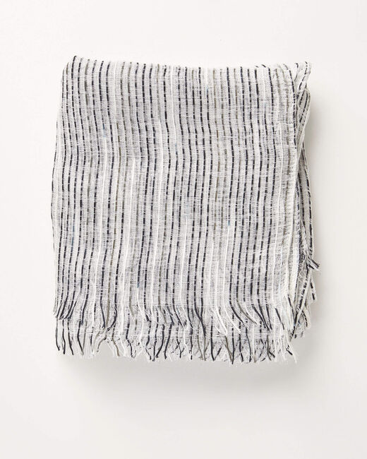 Aby black and white scarf with iridescent stripes! (2) - 1-2-3