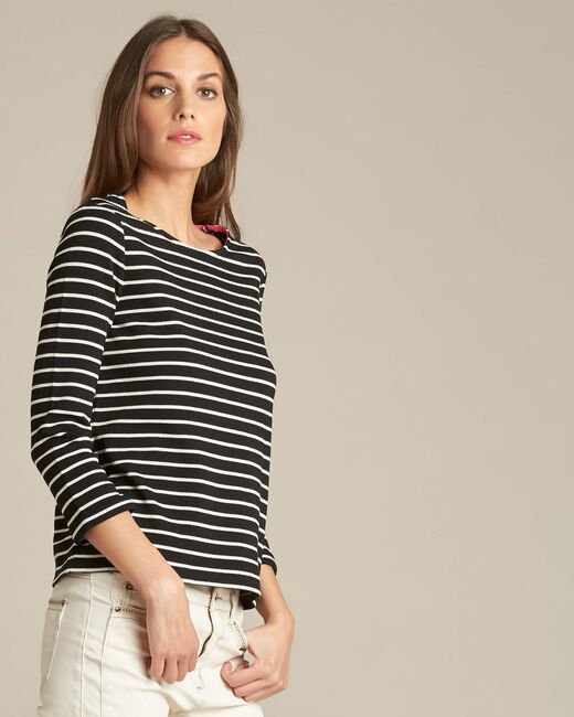 Tee-shirt noir rayé manches 3/4 Escadre (2) - 1-2-3