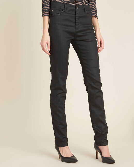 Valley 7/8 length black slim-cut coated jeans (2) - 1-2-3