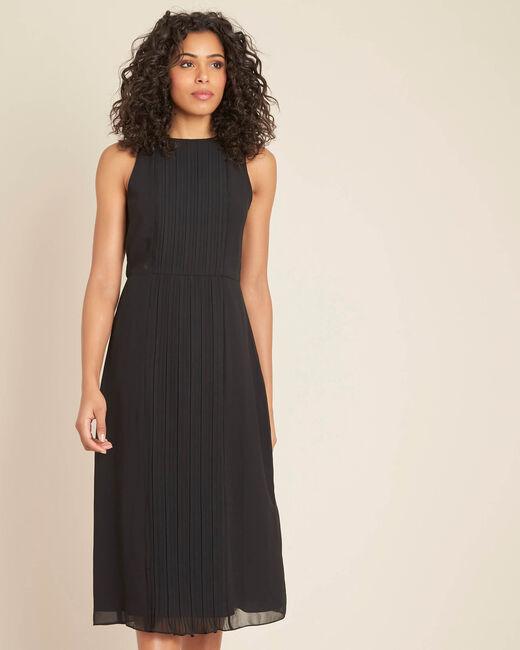 Schwarzes mittellanges Plissée-Kleid Isabella (2) - 1-2-3