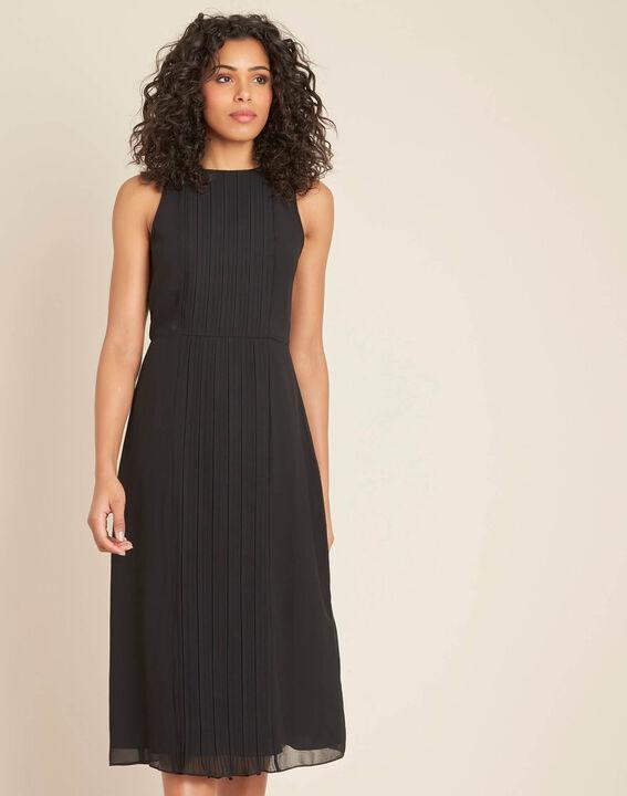Schwarzes mittellanges Plissée-Kleid Isabella (3) - 1-2-3