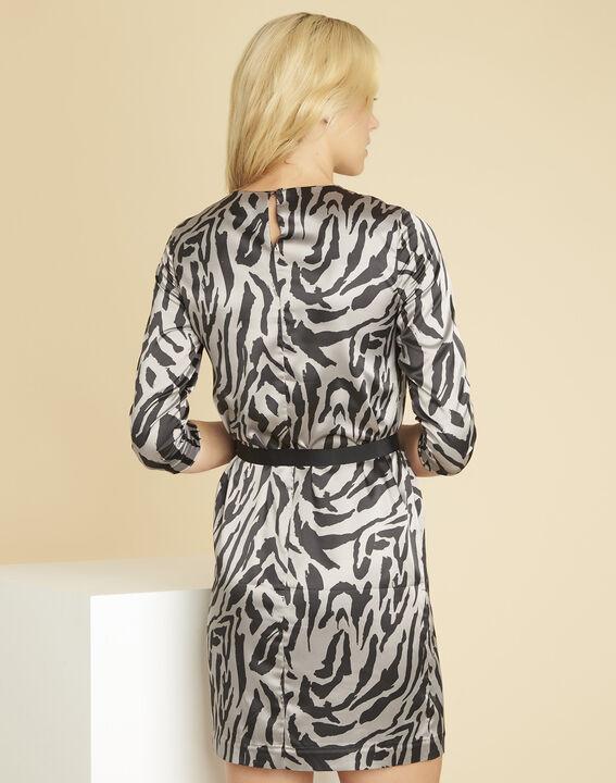Grijze jurk met dierenprint Diandra (4) - 37653