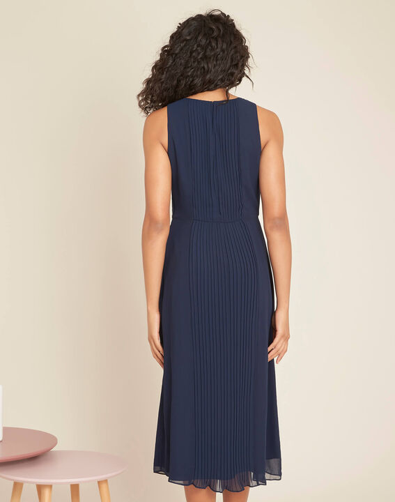 Marineblaues mittellanges Plissée-Kleid Isabella (4) - 1-2-3
