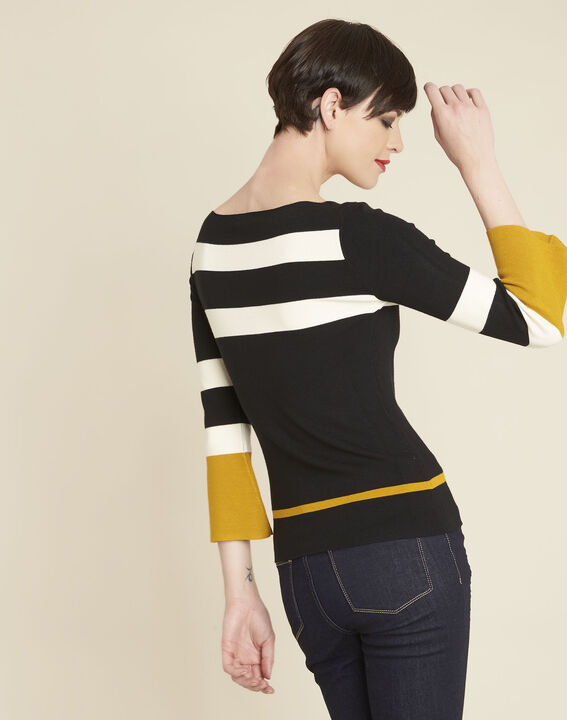 Bins black striped sweater with pagoda sleeves (4) - 1-2-3