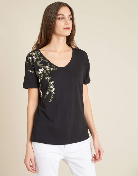 Erable black T-shirt with floral print (3) - 1-2-3