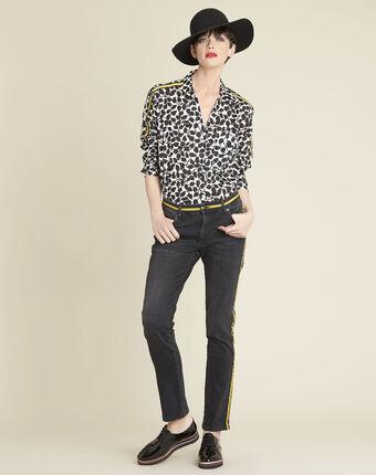 Jeans mit gelben seitlichen streifen vivienne schwarz.