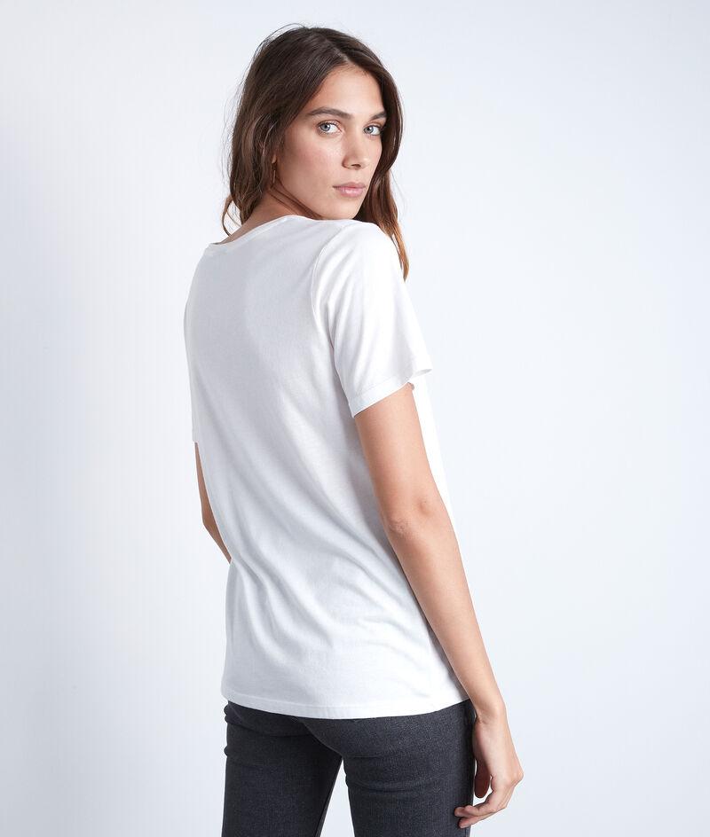 Tee-shirt en coton et modal blanc à message Eclipse PhotoZ | 1-2-3