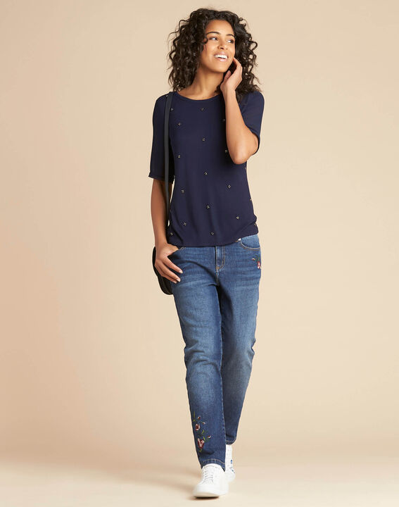 Eclipse navy blue polka dot T-shirt with beading and Georgette sleeves (2) - 1-2-3
