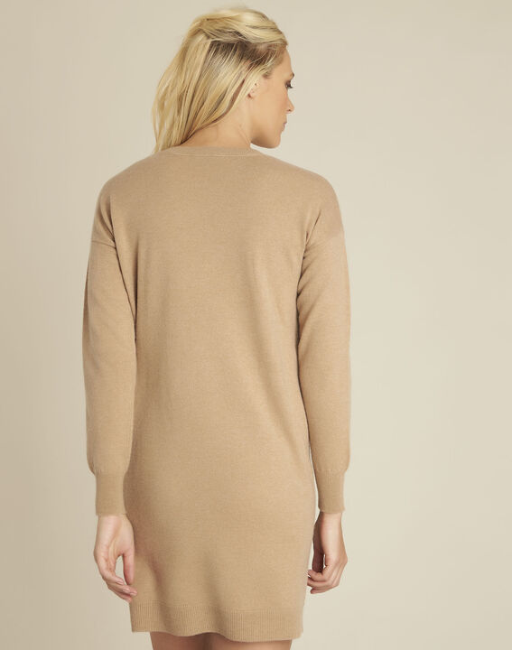 Baltus camel knit dress with faux leather pocket (4) - 1-2-3
