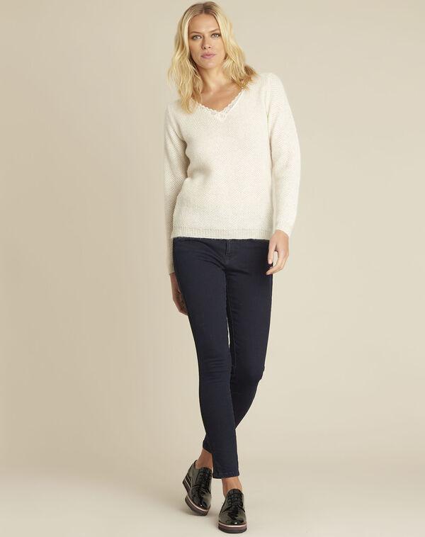 Donkerblauwe slim-fit jeans met kanten band Vendome (2) - 37653