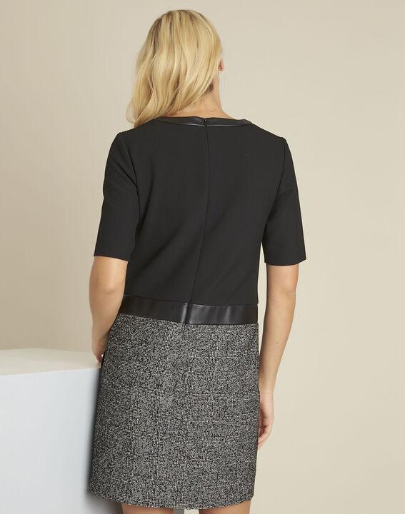 Dizzy black bi-material dress (4) - 1-2-3