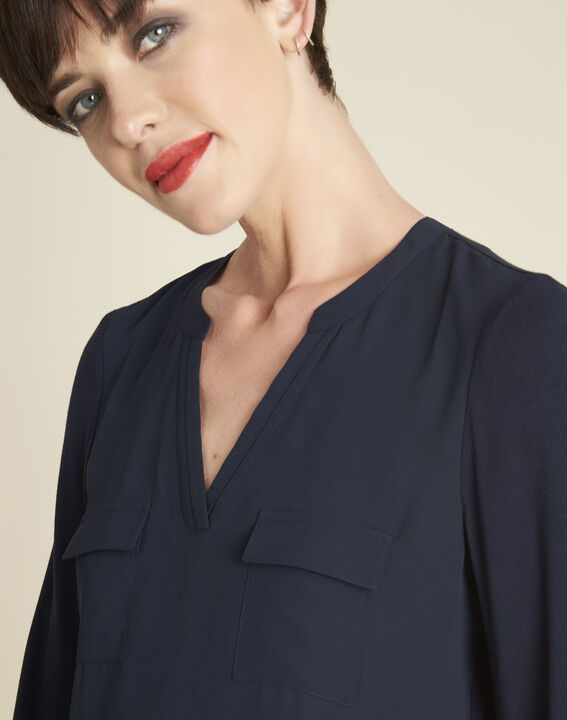 Genna V-neck navy dual-fabric blouse (3) - 1-2-3