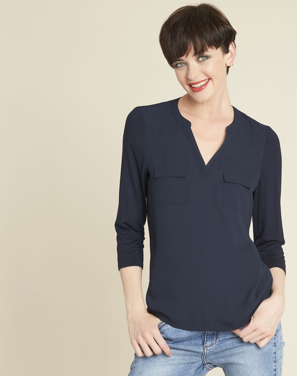 Genna V-neck navy dual-fabric blouse (2) - 1-2-3