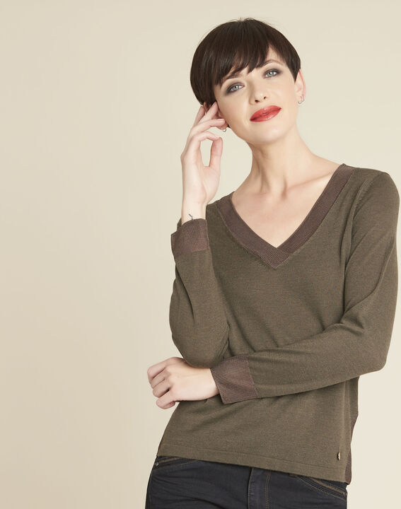 Khakifarbener dünner Pullover mit V-Ausschnitt Bergamotte PhotoZ | 1-2-3