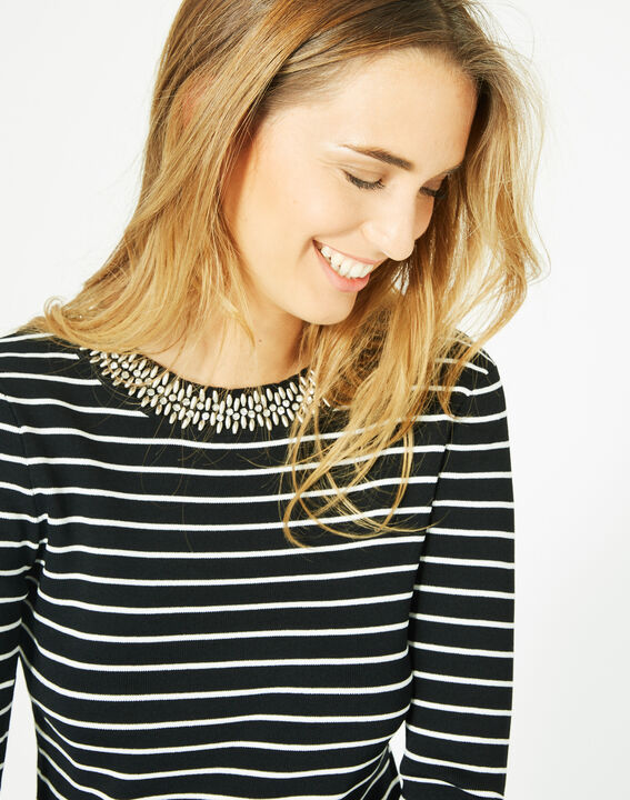 Parure black and white striped sweater in a stylish knit (3) - 1-2-3