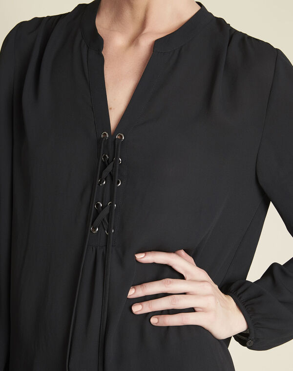 Cheryl black blouse with laced neckline (2) - 1-2-3