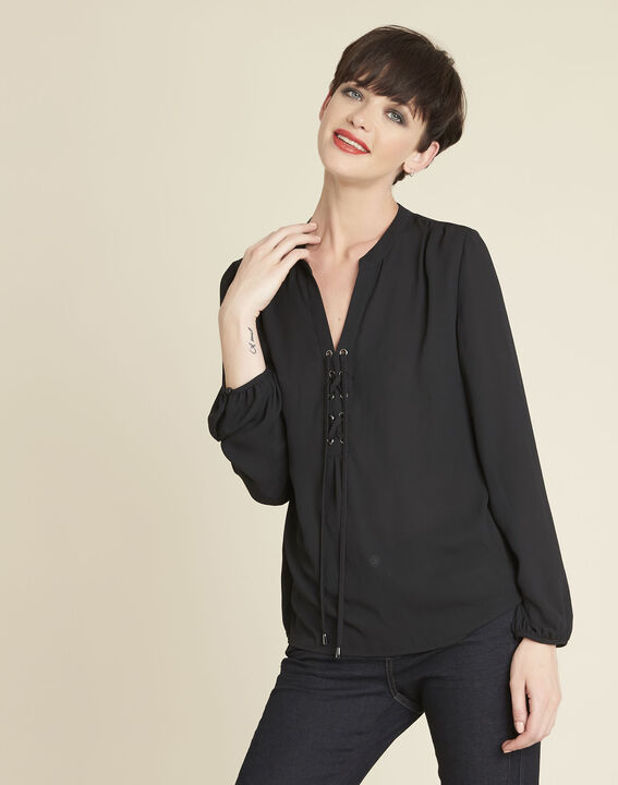 Cheryl black blouse with laced neckline PhotoZ | 1-2-3