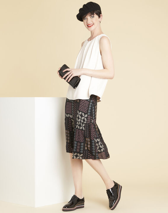 Annabelle black skirt with floral print (2) - 1-2-3