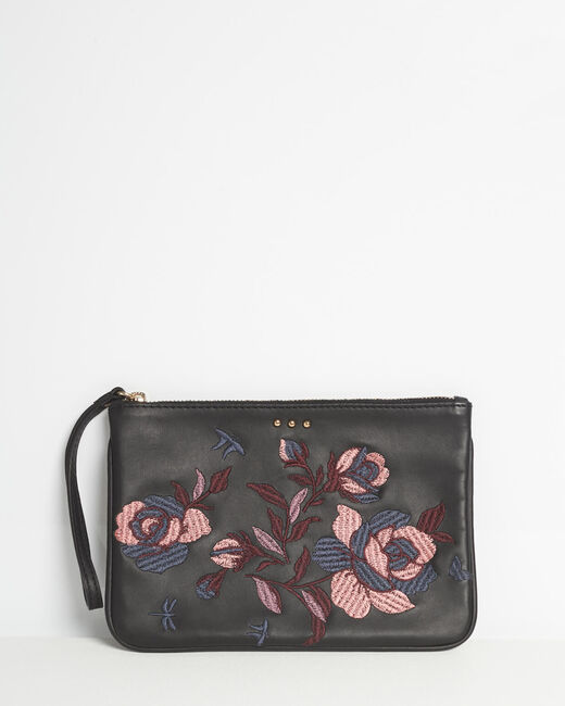 Delly embroidered clutch with black leather straps (1) - 1-2-3