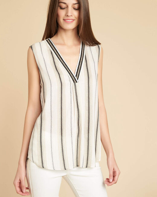 Gobelins V-neck ecru and gold striped top (2) - 1-2-3