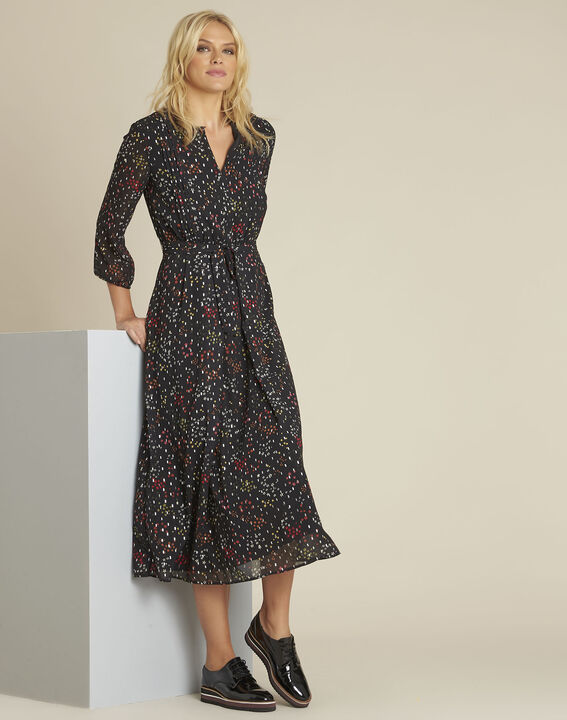 Lange zwarte jurk met print Natte PhotoZ | 1-2-3
