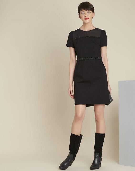 Robe noire détails strass Ness (3) - 1-2-3