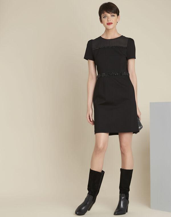 Robe noire détails strass Ness (2) - 1-2-3