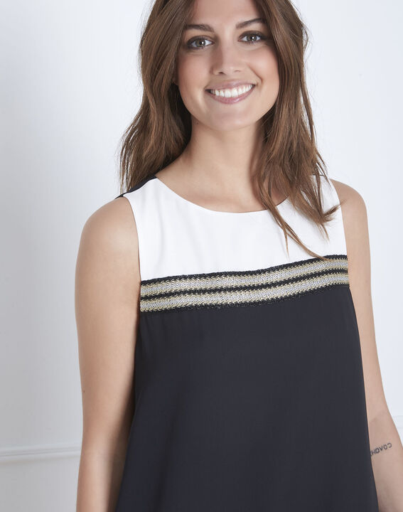 Zwart en witte jurk met goudkleurige details Isola (3) - 37653