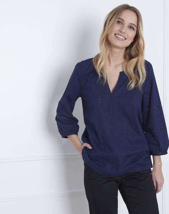 Marineblauwe blouse met Engels borduurwerk Verveine (1) - Maison 123