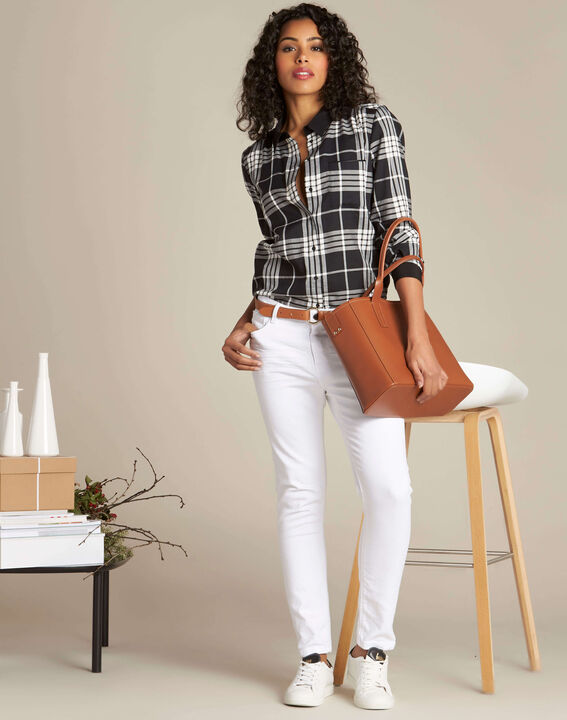 Dominique black and white check shirt (2) - 1-2-3