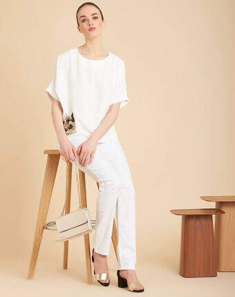 Jean blanc slim enduit taille normale valley blanc.