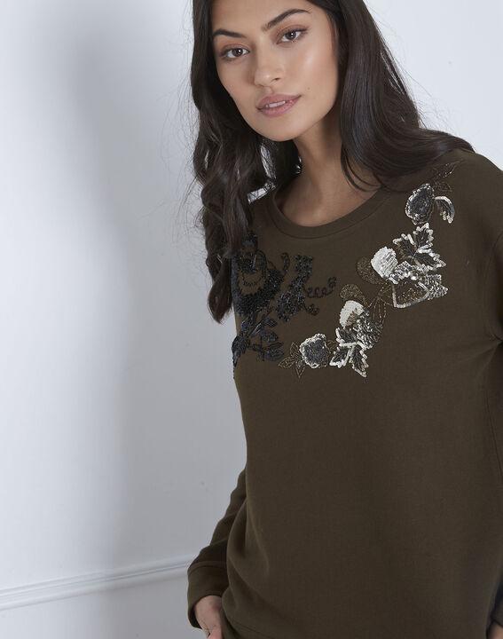 Khakifarbenes Sweatshirt mit Stickmuster Polly (3) - Maison 123