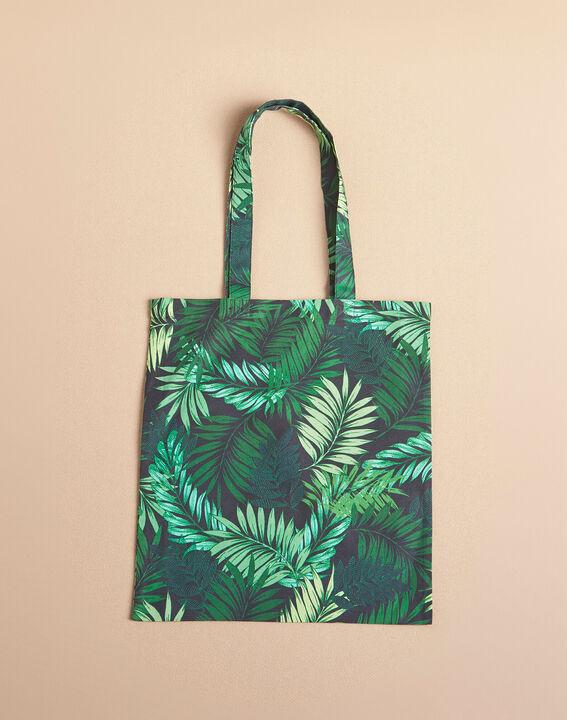 Palm-printed khaki tote bag (2) - 1-2-3