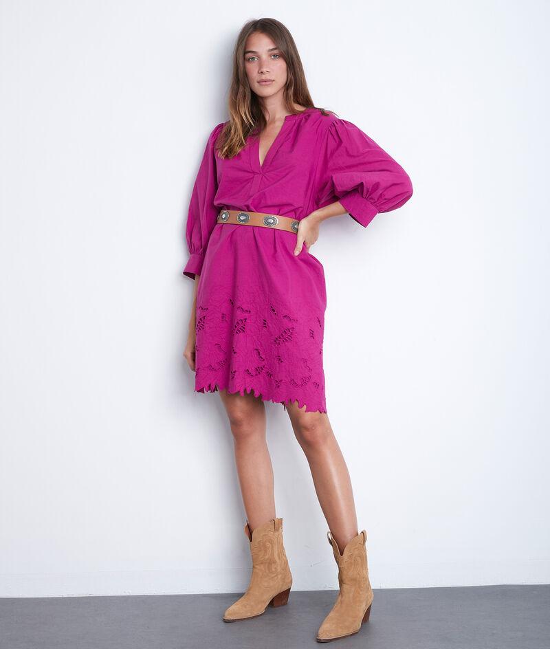 Robe courte en coton brodé fuschia Sidonie PhotoZ | 1-2-3