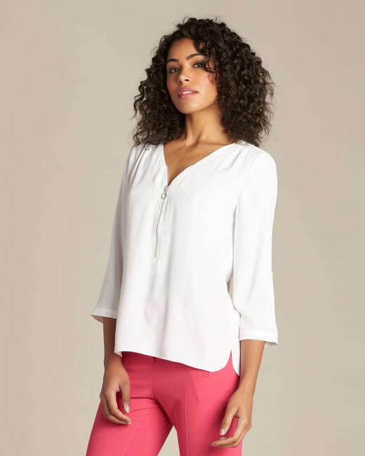 Galia ecru blouse with zipped neckline (2) - 1-2-3