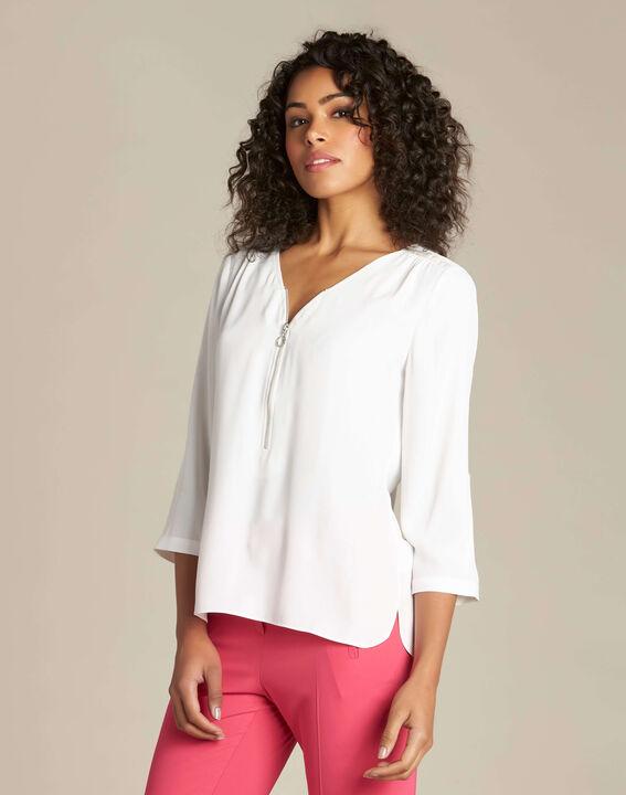 Ecrufarbene Bluse mit Reißverschluss-Ausschnitt Galia (3) - 1-2-3