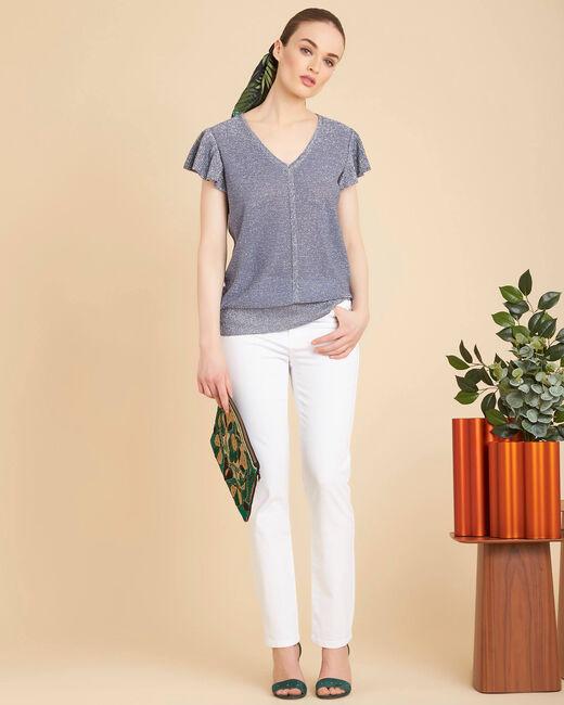 Naiade fine-knit light indigo shiny sweater (1) - 1-2-3
