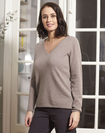 Pull taupe foncé col v cachemire badiane taupe fonce.