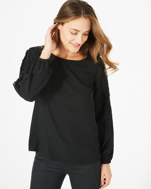 Schwarze Bluse mit rundem Kragen Dakota (1) - 1-2-3